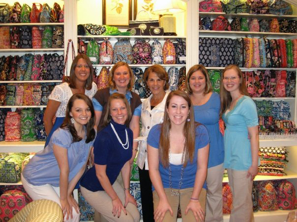 Co-founder Patricia Miller with the girls of Vera Bradley at The Summit in April for an in-store event