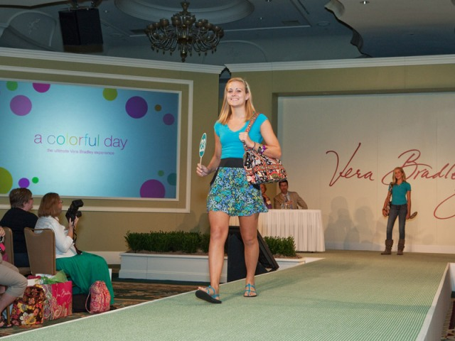 Working the runway at the Vera Bradley Model Casting Call