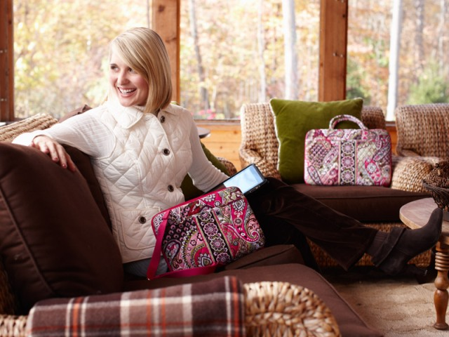 Vera Bradley employee Emily McCabe modeling in our holiday shoot