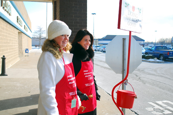Teams of two rang the bells for the Salvation Army