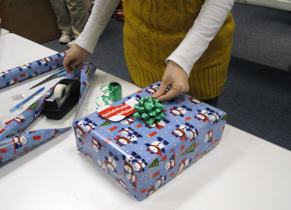 A team at our Production Road office sorted and wrapped gifts