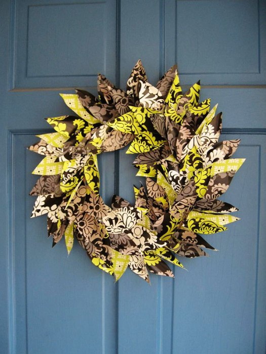 Holiday Wreath created with our Reversible Gift Wrap in Baroque