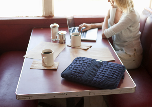Laptop Sleeve in Navy Microfiber