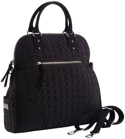 Convertible Tote in Black Microfiber