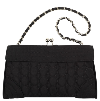 Kisslock Clutch in Black Microfiber
