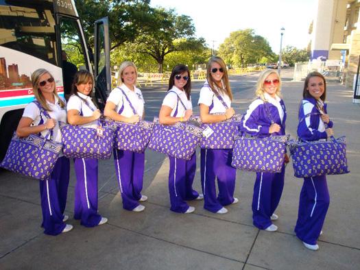 TCU cheerleaders with Miller Bags in Simply Violet