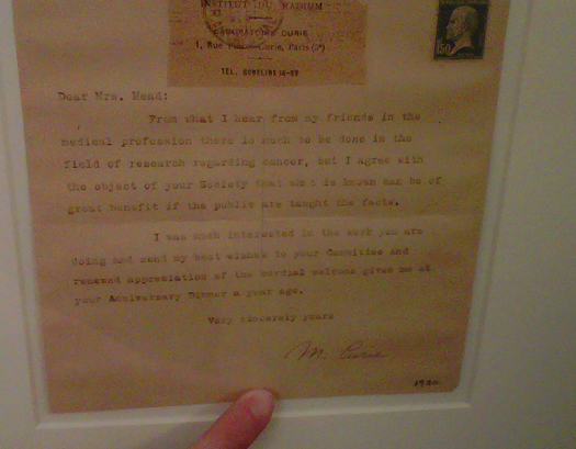 Letter from Marie Curie