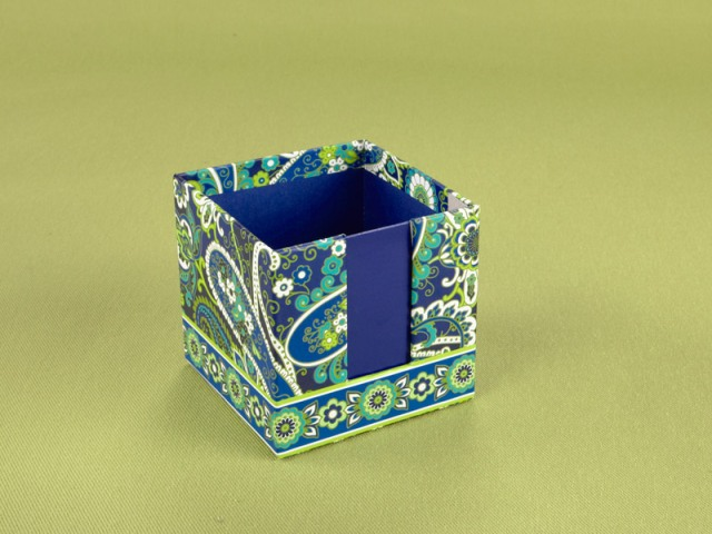 DIY: Vera Bradley Note Cube to pencil cup