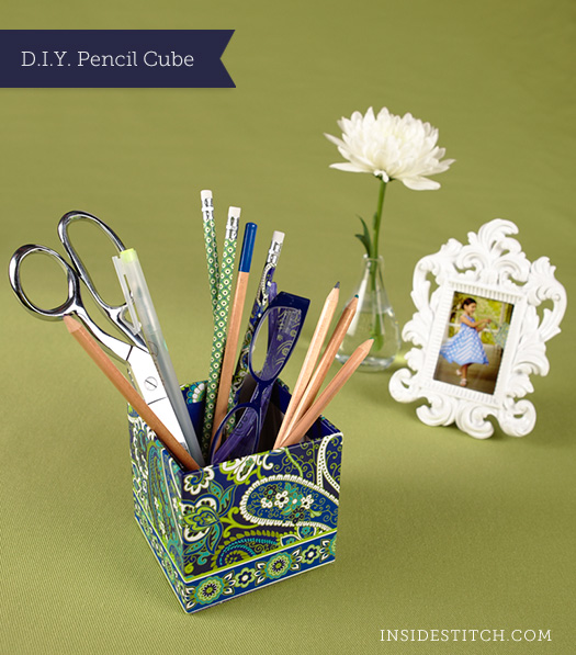 DIY: Vera Bradley Note Cube to Pencil Cube